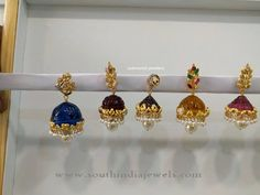 Gold Jhumkas with Colorful Stones, Gold Jhumkas with Interchangeable Stones, Gold Jhumkas with Pearls. Gold Jhumka Earrings, Gold Earrings Designs, Gold Jewellery Design, Necklace Designs, Beaded Necklace Patterns, Jewelry Patterns, Metal Clay Jewelry, Silver Jewelry, Silver Rings