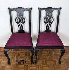 Set of Two Chippendale Style Dining Chairs in Black and Purple