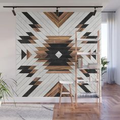Urban Tribal Pattern - Aztec - Wood // Wall Mural by Zoltan Ratko // This pattern design is also available as a wall art, apparel, tech and home Indian Living Rooms, Wood Wall Art, Home Projects, Diy Home Decor, Tribal Home Decor, Aztec Decor, Room Decor, Wall Murals, House Design