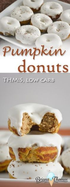 These pumpkin donuts are THM:S, low carb, sugar free, with gluten/nut free options!