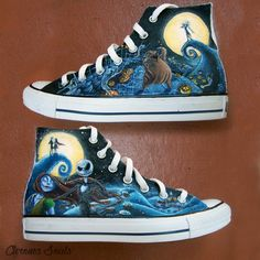 Check these out nightmare before christmas nails. Nightmare Before Christmas Nails, Nightmare Before Christmas Decorations, Nightmare Before Christmas Wallpaper, Custom Painted Shoes, Hand Painted Shoes, Disney Shoes, Disney Outfits, Disney Clothes, Cute Shoes