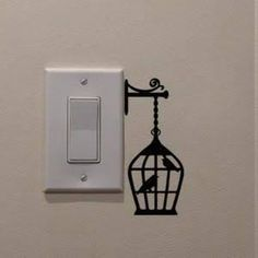 Black Creative Birdcage DIY Wall Stickers Switch Sticker Home Decoration Wallpaper Simple Wall Paintings, Wall Painting Decor, Diy Wall Art, Diy Wall Decor, Diy Painting, Art Paintings, Diy Art, Wall Art Designs, Paint Designs