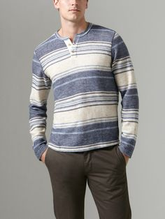 Brushed Cotton Knit Stripe Henley by NSF