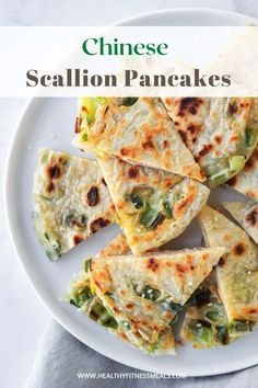 Also known as Cong You Bing, these Scallion Sesame pancakes are so crispy, tasty, and easy to make at home! They serve as a perfect snack, appetizer, or side dish. These Chinese pancakes are also vegan-friendly. #Chinesepancakes #scallionpanackes #veganrecipe via @healthyfitnessmeals Healthy Eating Recipes, Vegetarian Recipes, Crepes And Waffles, Scallion Pancakes, Greens Recipe, Butter Chicken, Side Recipes, Vegetable Recipes, Appetizers