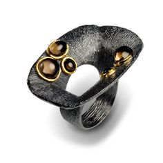 Ring | G.Kabirski.  Sterling silver, smokey quartz with plated rhodium and gold.