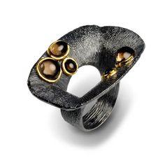 Ring | G.Kabirski.  Sterling silver, smokey quartz with plated rhodium and gold.