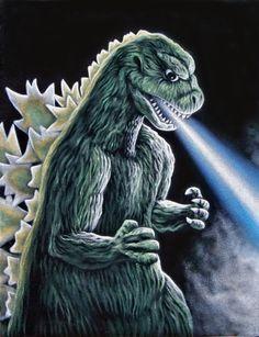 Godzilla Original Black Velvet Painting  King of The Monsters Kaiju Gojira
