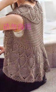 Chaqueta sin mangas tejida al crochet con patrones y moldes