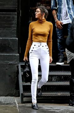 If it's still a little cold out, pair white jeans with a thin turtleneck. Let Daily Dress Me help you find the perfect outfit for whatever the weather! dailydressme.com/