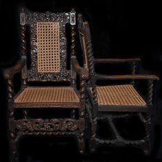 Lot #16: Pair of Wicker & Wood Armchairs  DESCRIPTION:Pair of wicker and wood armchairs. One features an ornate spiraling wood frame with a wicker back and seat. The other features a spiral wood frame and is finished with an ornate floral and figural motif along the arms, seat, and back.  CIRCA:20th Ct. ORIGIN: USA DIMENSIONS: Spiraled Wood Chair: H:44″ L:26″ W:18.5″ Floral Chair: H:46″ L:25″ W: 17.5″