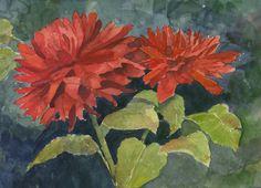 Dahlias, Original Watercolor, Louise O'Donnell