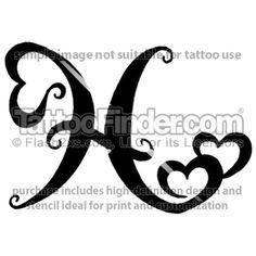 Pisces Designs   TattooFinder.com : Pisces Hearts tattoo design by Melanie Paquin