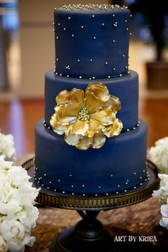 Navy Blue and Gold Wedding Cake ~ all edible