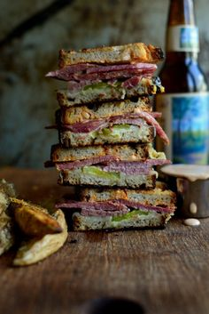 Grilled Corned Beef + Swiss on Rye Sandwich with Homemade Russian Dressing via SimplyScratch.com