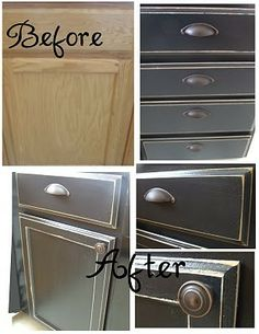 I did this in our old kitchen, but added a step.  I painted them burgandy and then added crackle (just in the center panel), then painted the black on top.  Then ended with the poly.  It came out very cool!  I'd do it again.