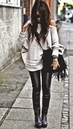 Street fashion skinny leather leggings and oversize chunk sweater #OrpivaFashion