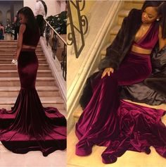 Sexy V Neck Velvet Burgundy Two Piece Prom Dresses 2017 Black Girls African Court Train Long Mermaid Prom Dresses Party Gown