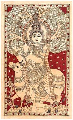 Krishna as Gau Gopala - Cotton Kalamkari Painting