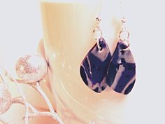 Black Purple and Silver leaf earrings made of by Felicianation
