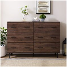 Shop Walker Edison Farmhouse Dresser Dark Walnut at Best Buy. Find low everyday prices and buy online for delivery or in-store pick-up. Wooden Dresser, Dark Wood Dresser, Farmhouse Furniture, Furniture Renovation, Dark Walnut, Wood Tv Stand Rustic, Walker Edison Furniture, Dresser Drawers, Farmhouse Bedroom Furniture