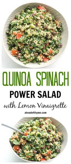 Quinoa Spinach Power Salad with Lemon Vinaigrette: Take a bite into this refreshing, gluten-free quinoa spinach power salad bursting with colourful tomatoes, cucumbers and raisins dressed with a lemon vinaigrette | @andwhatelse