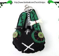 ZOMBIE BUNNY CHARM  rabbit bag charm  psychobilly punk  goth / Free Shipping Worldwide.  via Etsy.