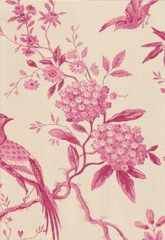 Pillemont Toile Wallpaper, Cerise - asian - wallpaper - Fabrics & Papers