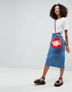 Синяя джинсовая юбка миди ASOS