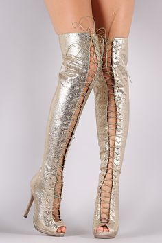 Liliana Cracked Metallic Lace Up Stiletto Heeled Over-The-Knee Boots