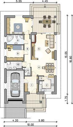 O casă pe un singur nivel cu garaj, ideală unei familii cu trei membri. Interiorul te va cuceri! | stiri.MagazinulDeCase.ro Village House Design, Village Houses, Tiny House Design, My House Plans, Cabin Plans, Modern House Plans, The Plan, How To Plan, House Design Pictures