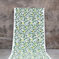 Fabric Citrus Limon by Maria Åström. Available in cotton/linen and eco cotton quality and CTC (oilcloth quality in modern touch - feels like a real cloth but has the ordinary oilcloth skills). Scandinavian Fabric, Scandinavian Design, Textiles, Surface Pattern Design, Cotton Linen, Upholstery, Retro, Floral, Modern
