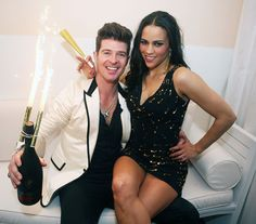 Robin Thicke and Paula Patton Celebrity Rings, Dress Outfits, Fashion Outfits, Fashion Clothes, Paula Patton, Robin Thicke, Stylish Couple, Famous Couples, New Year Celebration