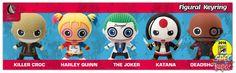 Monogram International: Suicide Squad 3D Foam Figural Keyring set, which features Killer Croc, Harley Quinn, the Joker, Katana, and Deadshot.