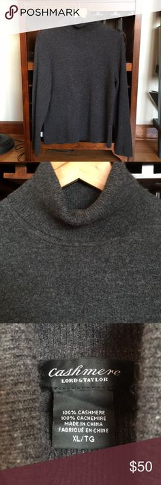 Cashmere charcoal gray Sweater Lord & Taylor charcoal gray cashmere turtleneck sweater. Made with thicker cashmere wool. In excellent condition. Never worn condition. No pilling. Tag says size XL but fits very slim and fits more like a L or a M if you wanted a looser fit. No trades. Lord & Taylor Sweaters Cowl & Turtlenecks