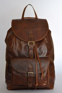 Brown Genuine Leather BACKPACK. by DoubleEdge on Etsy https://www.etsy.com/listing/166105928/brown-genuine-leather-backpack