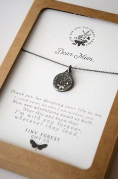 Lovely gift for Mom this Mother's Day, for her Birthday, or whenever you think she needs a little pick me up. Mother's Necklace, Inspirational Necklace for Mom Diy Gifts For Mom, Tiny Gifts, Perfect Gift For Mom, Cute Gifts, Great Gifts, Christmas Gifts, Dear Mom, Mom Day, Mother And Father