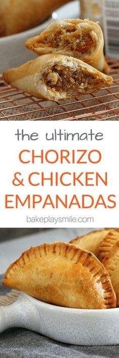 These oven-baked Chorizo and Chicken Empanadas are absolutely bursting with flavour! Crispy on the outside and totally delicious on the inside! Mexican Dishes, Mexican Food Recipes, Beef Recipes, Chicken Recipes, Cooking Recipes, Dinner Recipes, Family Recipes, Dinner Ideas, Mexican Appetizers