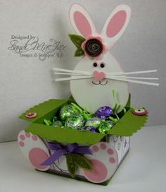 bunny baskets made with the Big Shot and STampin Ups Envelope Die