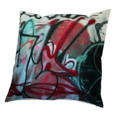 graffiti pillows, with a plain couch or chair, hell yeah.