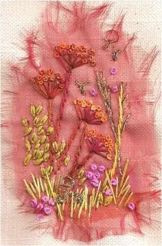 Minis & mini plus kits, hand embroidery kits designed for persons of all ages and abilities Free Machine Embroidery, Embroidery Stitches, Embroidery Patterns, Silk Ribbon Embroidery, Hand Embroidery, Flower Embroidery, Fabric Art, Fabric Crafts, Textile Fiber Art