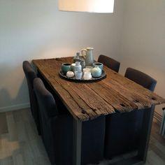 Rvs binnen tafel met wagon planken blad