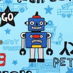 blue toy robot car oxford fabric Kokka Japan