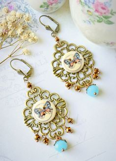Antique Brass Earrings, Vintage Style, Vintage button, Nickel free, Butterfly