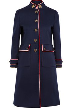 Gucci - Embellished Metallic-trimmed Wool-felt Coat - Navy - IT42