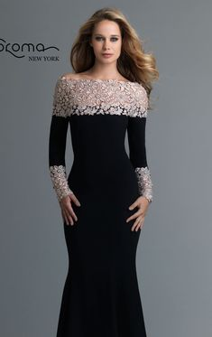 Show off your natural beauty in 99824 by Saboromo. Features a scalloped neckline and a long sleeves design. Embellished with a beaded floral pattern in its neckline and also on the sleeves. And the skirt extends to a sweep train. Gala Dresses, Dress Outfits, Fashion Dresses, Lovely Dresses, Elegant Dresses, Formal Dresses, Velvet Dress Designs, Mother Of The Bride Dresses Long, Elegant Outfit
