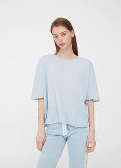 Ribbed t-shirt -  Woman | MANGO Denmark
