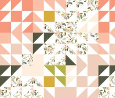 Blush Sprigs and Blooms Puzzle Wholecloth fabric by ivieclothco on Spoonflower - custom fabric
