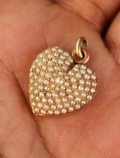 antique victorian 14K GOLD studded SEED PEARLS Heart Photo LOCKET Pendant Charm