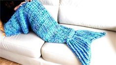 This mermaid tail crochet pattern is perfect for girls who want to feel like a mermaid princess while snuggling up on the couch or bed!