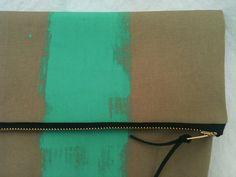 Mint Green or Aqua Stripe Foldover Clutch by poppyandlime on Etsy, $29.90